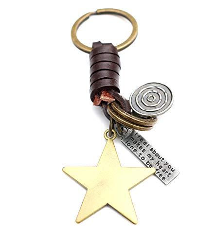 AuPra Star of Luck KeyRing Easter Gift | Women & Men Leather New Home Gold Lucky KeyChain | Mum & Dad Novelty Friendship Charm Key Ring Present | Girl & Boy Cute Best Friend Mini Pendant