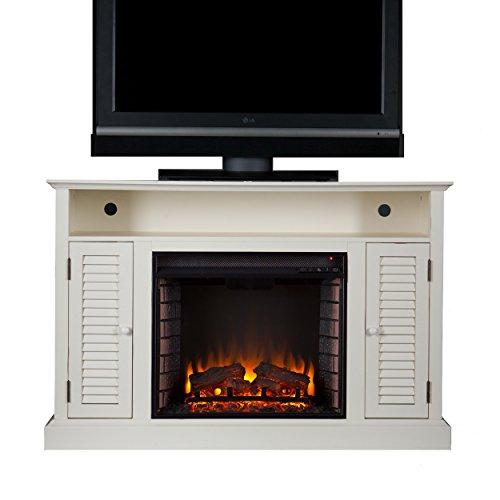 SEI Furniture Southern Enterprises Antebellum Media Electric Fireplace 48' Wide, Antique White Finish