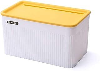 防水ティッシュボックスカバーホルダー、壁掛け式自己粘着トイレットペーパーホルダー貯蔵ボックスシェルフ、浴室リビングルーム、ブルー、ラ (Color : Yellow, Size : Large)