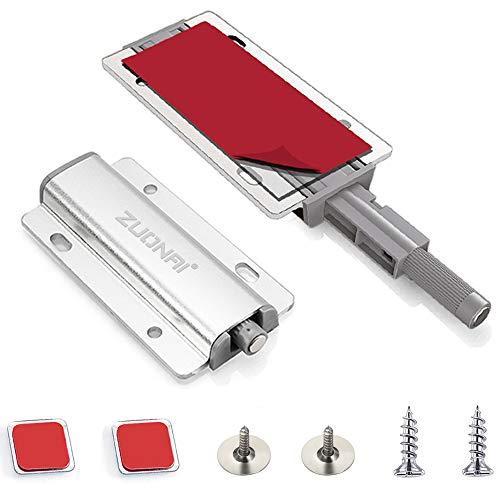 ZONAI otwieracz do drzwi ciśnieniowych, 2 sztuki, klej, zatrzask zaciskowy, magnes, samozamykacz drzwi, mocny, push to open, zamknięcie magnetyczne, drzwi szafy, otwieracz do szuflad, magnesy do mebli, amortyzatory drzwi