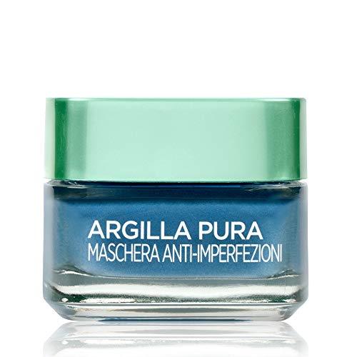 L'Oréal Paris Maschera per il Viso Argilla Pura, Azione Anti-Imperfezioni, Agisce sui Punti Neri e Ristringe Pori, con Alga Marina e 3 Argille Minerali, 50 ml