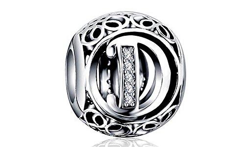 Sterling Silver Charms Missy Jewels, Letra D Charm Plata de Ley 925 Estilo Vintage abecedario compatibles Pulseras Pandora, Missy, Swarovski, Chamilia, etc. (D)