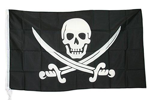 G.V. Bandiera Pirati Caraibi BUCANIERI Pirate Flag Teschio Spade Incrociate cm 90x150 Alta QUALITA' Tessuto Spesso Robusto
