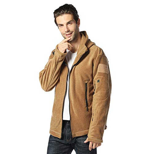Save %55 Now! Men's Autumn Casual Daily Solid Color Full Zipper Outdoor Winter Warm Hooded Coat Khak...
