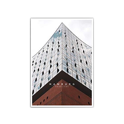 Hamburg Poster für dein Wohnzimmer – verschiede Größen & Designs – Hamburger Hafen   Elbphilharmonie   Nordliebe   Schwarz Weiß Bilder - ohne Rahmen (Retro Elbphilharmonie)