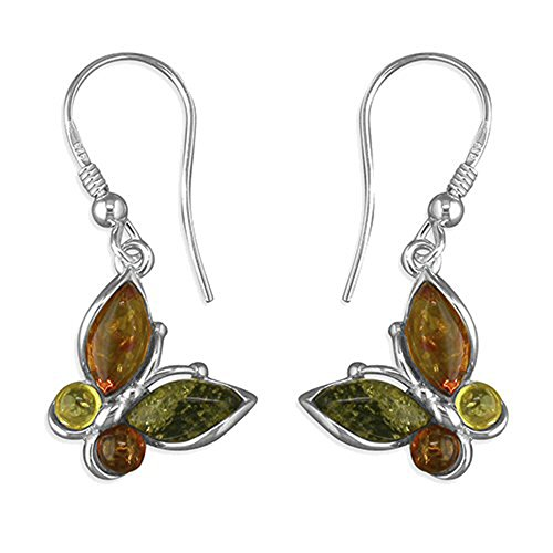 Butterfly Amber Sterling Silver Earrings - Unusual Mixed Amber Fancy Dangly Drop - Perfect for Amber Jewellery Lovers