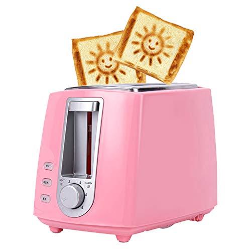 YHSFC Toaster automaticlly Brothersteller 2 Scheiben Lächeln Muster 6 Gänge,Rosa