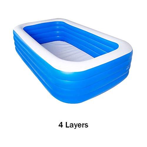 Piscina Familiar Gran Piscina Infantil Material de PVC de Grado Alimenticio Espesor de Doble Capa Diseño de Airbag Prevenir Fugas de Aire Piscina Inflable 4 Layers,Azul