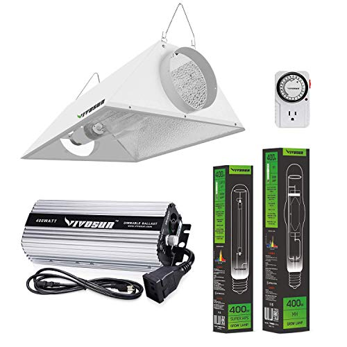 VIVOSUN Hydroponic 400 Watt HPS MH Grow Light Air Cooled Reflector Kit - Easy to Set up, High Stability & Compatibility (Enhanced Version)