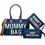 Diaper Bag Tote, Printe Mommy Bag for Hospital & Maternity with Baby Necessities Bag, Large Capacity Waterproof Baby Bag for Mom Travel, Navy