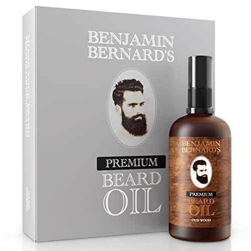 Premium Bartöl von Benjamin Bernard - Bartpflege für Männer - Mit ätherischen Ölen, Vitamin E - Natürliche Feuchtigkeit - Serum & Conditioner für Bart-Styling - Oud Wood - 100 ml
