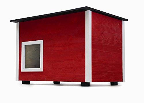 Elmato 10752 Deluxe Katzenhaus (Rot mit Isoboden)