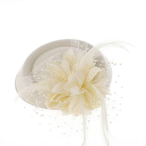 Weinlesebowknot-Veil-Hut Kopfschmuck Kreative Braut Hut Kopf Blume Mesh Garn Blume Hut Hochzeitskleid Zubehör Bankett Kleine Hut für Damen (Color : Beige, Size : Free Size)