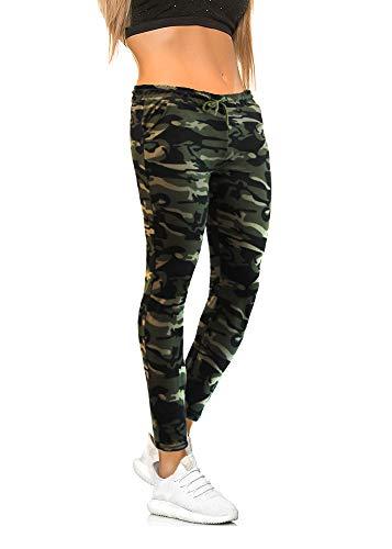 Damen Hosen Camouflage Jogginghose Sporthose Workwear Uniform Gym Fitness Cargo Relaxed-Fit Multi Jogger Freizeithose Military Sicherheitshose Camoflage M
