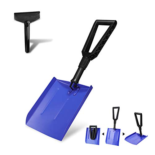 V VONTOX Klappbare Schneeschaufel, Emergency Schneeschaufel mit D-Grip-Griff und haltbarem Aluminium/mit Auto Schneeschaufel, Tragbar, Kompakte, zusammenklappbar für PKW, LKW, SUV(Blau)
