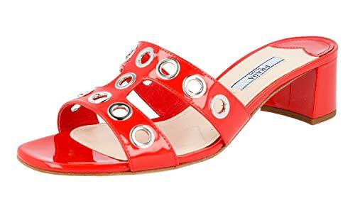 Prada Women's 1XX250 069 F0D17 Red Leather Sandals US 10 / EU 40