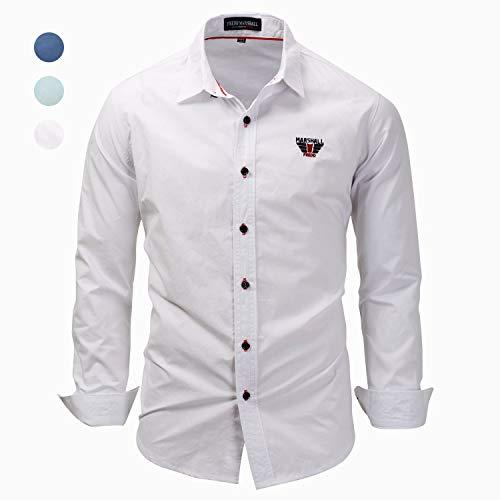X&Armanis Baumwoll-Hemd für Herren,atmungsaktives gesticktes bedrucktes Hemd Sommer Normallack Hemdoberseite,3,2XL