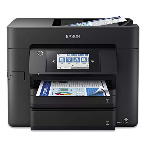 """Epson Workforce Pro WF 48xx Series Wireless Home Office All-in-One Color Inkjet Printer - Print Scan Copy Fax - 4.3"""" LCD Touchscreen, 25 ppm, Auto 2-Sided Printing, 500-Sheet, 50-Sheet ADF, Ethernet"""