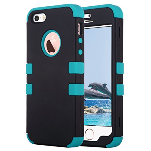 ULAK Cover per iPhone 5S, iPhone SE / 5 Custodia Ibrida a Protezione Integrale con Parte Esterna in 3 Strati di Morbido Silicone e Interno Rigido per Apple iPhone 5S /5 /SE -Nero + Blu
