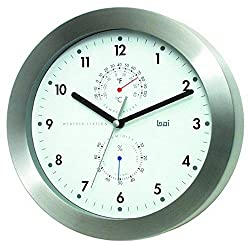 BAI Brushed Aluminum Weather Station Wall Clock, White