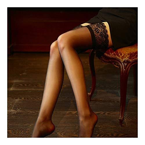 home + Medias Mujer Stocks De Productos Femeninos Medias Altas Mujeres Ropa Interior Atractiva De Señora Lace Pantyhose 2 Colores Medias de Liga (Color : Black, Size : One Size)