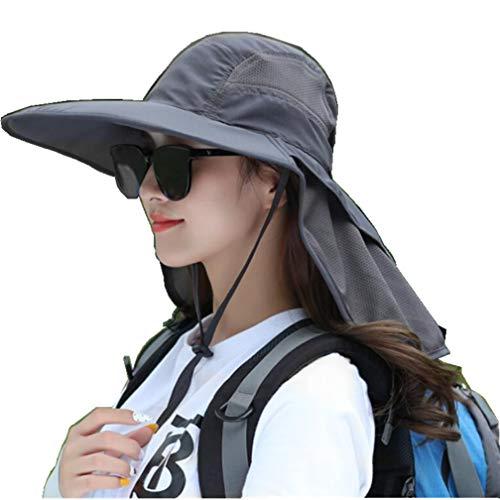 Dukars Outdoor UPF 50+ Sonnenschutz Safari Cap Packable Sonnenhut Weitkrempe Angelhut mit Nackenklappe für Männer und Frauen, dunkelgrau, Large