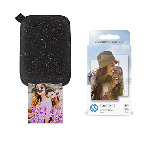 HP Sprocket Portable Photo Printer 2nd Edition (Noir) & Sprocket Photo Paper, Sticky-Backed 20 sheets