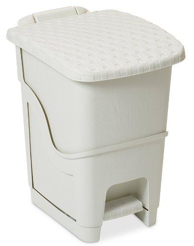 DEA HOME Z441M008 Pattumiera Rattan Bin, 18 L, 28x35x40, Milk White