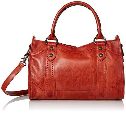 Frye womens Melissa Zip Leather Handbag Satchel Bag, Burnt Orange, One Size US