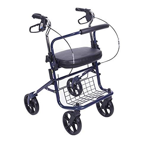 Opvouwbare Rollator Walker 4 Wiel Medische Rolling Met Zitzak - Mobiliteit Hulp Voor Volwassen Senior Oudere Handicap - Aluminium Transport Stoel