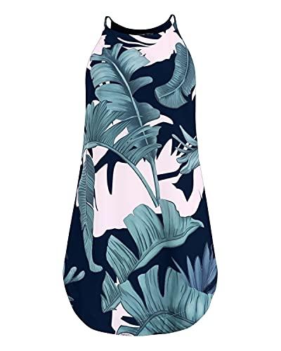 YOINS - Vestido de verano para mujer, estampado floral, sin mangas, cuello redondo, vestido de playa, corto