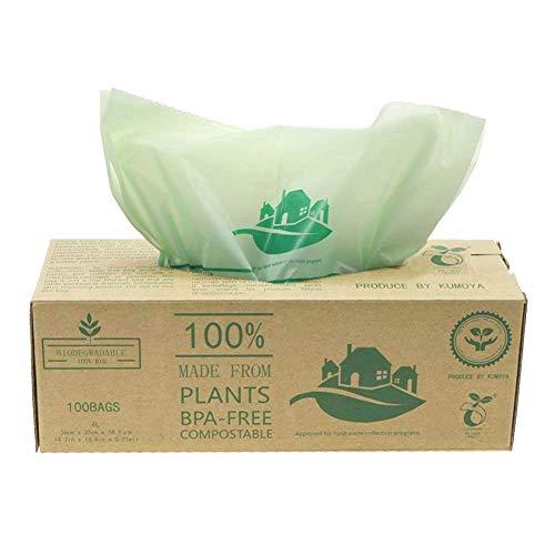Kumoya Compostables Cuisine Caddy Sacs – 100 BioBag déchets Alimentaires Compost 6L / 10L /30L – en13432 – Sacs Poubelle biodégradables avec Guide de Compost (6L)