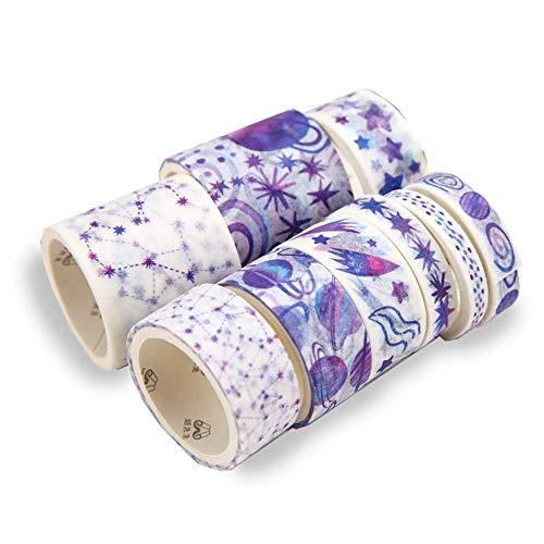10個入 マスキングテープ 和紙テープ カラーフル 日記手帳飾り付け ステッカーテープ 可愛い DIY装飾 剥がしやすい