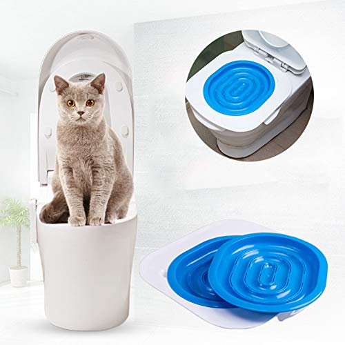 YOHAPPY Katzen-Toilettentraining-Set, 40 x 40 x 3,5 cm, ABS-Toilettentrainer, hilft Ihre Katze zu trainieren, um Toilette für Katzen und Kätzchen zu verwenden