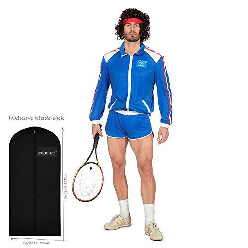 WOOOOZY Herren-Kostüm Tennis Spieler, Gr. 54-56 - inklusive praktischem Kleidersack