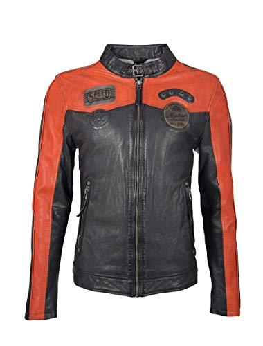 Gipsy Herren Bikerjacke Lederjacke mit Stehkragen, Patches und Einsätzen in Kontrastfarbe - GBTroon SF LACAV (Schwarz - Orange Rot, XL)