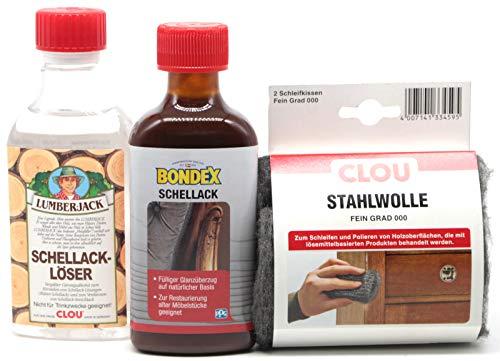Clou Lumberjack/Bondex Schellack Streichlack Set, 250 ml Schellack Löser & Schellack Streichlack natur & Schleif Stahlwolle Fein