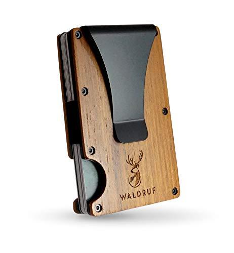 WALDRUF Kreditkartenetui für Herren aus Holz mit RFID Schutz | Kartenetui mit Geldklammer zur Aufbewahrung von bis zu 15 Karten | Mini Wallet | Slim Wallet | Card Holder mit Geldclip (Teak)
