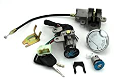 100% satisfaction service Package Include: 1 x Ignition switch (with 5 wires), 2 x Keys , 1 x Seat lock , 1 x Panel lock, 1 x Gas cap, 1 x Metal bracket This item fits for GY6 49cc 50cc Package indcluding: key ignition with 5 wires,set of 2 keys,gas ...