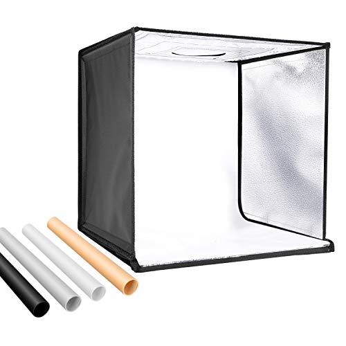 Neewer zweifarbig dimmbar 3200K-5600K Fotostudio Licht Box 20 Zoll Aufnahmelicht Zelt Faltbar Tragbar Professionelle Tischplatte Fotografie Beleuchtungsset 120 LED Leuchten 4 Farbe Hintergründe