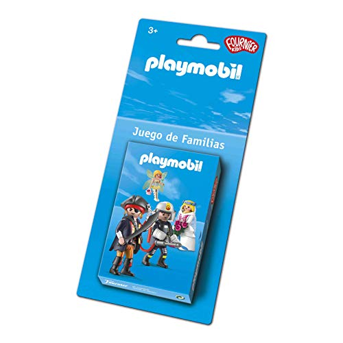 Fournier- Playmobil-Juego de Familias Baraja de Cartas Infantil, Color Azul (1044178)