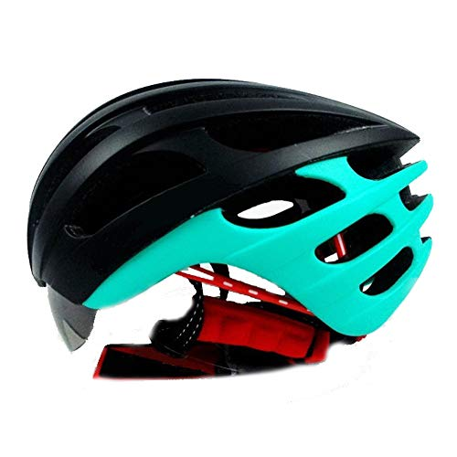 Fahrradhelm Herren, Sicherheitsschutz Leichte Fahrradhelm Männer Und Frauen Fahrradhelm Mattschwarz Grün Integrierte Schutzbrille