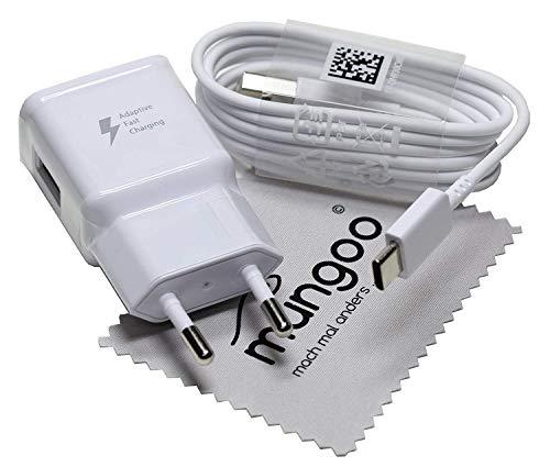 Schnellladegerät für Original Samsung Ladekabel für Galaxy Tab S5e, Tab S4, Tab S3, Tab A 10.1 (2019) 2A Blitz USB Type-C Daten Kabel mit mungoo Displayputztuch