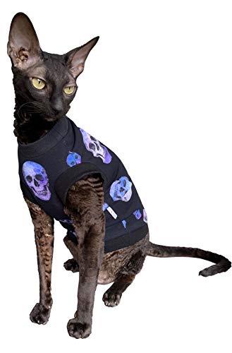 Kotomoda Hairless Cat's Kleidung Baumwolle T-Shirt lila Schädel für Sphynx Katzen (S)