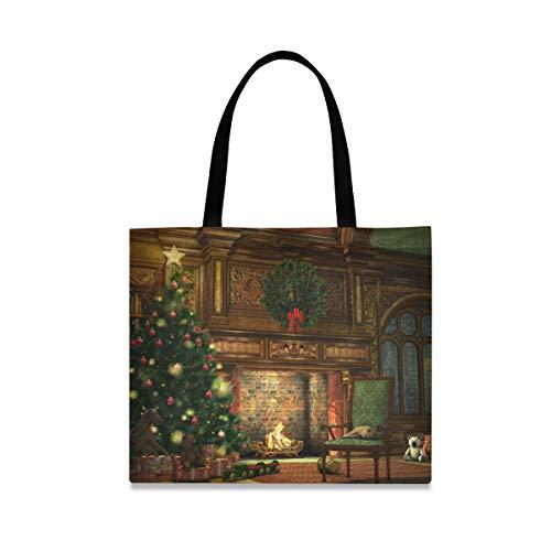 XiangHeFu Vacaciones de invierno Chimenea Árbol de Navidad Bolso Bolso de mano...