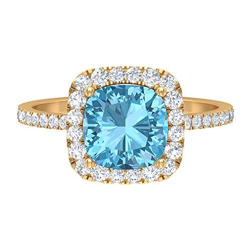 Anillo con halo de aguamarina, piedras preciosas de 2,80 quilates, D-VSSI Moissanite 8 mm, anillo de compromiso con piedra lateral, regalo de San Valentín para ella, 18K Oro amarillo, Size:EU 60