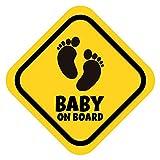 K006   Baby on Board Aufkleber Babyautoaufkleber Auto Sticker Babyaufkleber Autoaufkleber Vinyl Baby on Board Tiere (V1 Babyfüßchen, Goldgelb)