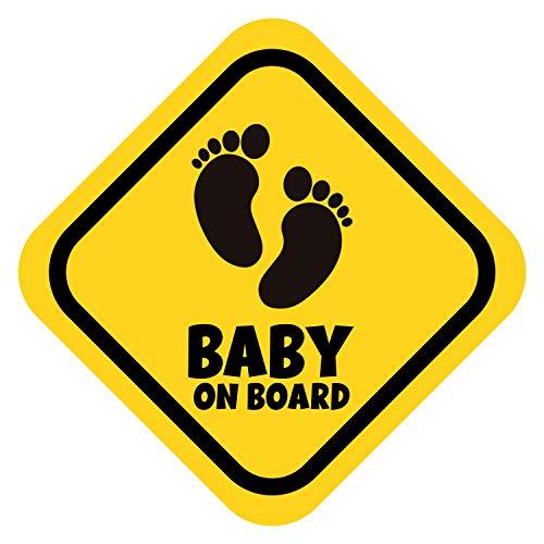 K006 | Baby on Board Aufkleber Babyautoaufkleber Auto Sticker Babyaufkleber Autoaufkleber Vinyl Baby on Board Tiere (V1 Babyfüßchen, Goldgelb)