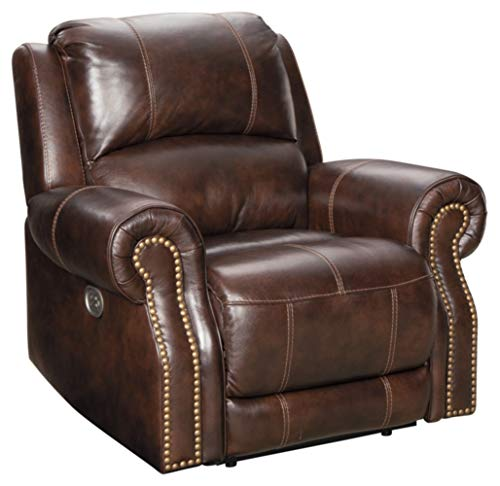 Signature Design by Ashley Buncrana Power Recliner with Adjustable Headrest, Brown