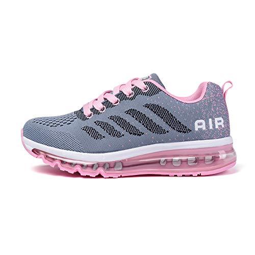Monrinda Damen Sportschuhe Herren Laufschuhe mit Luftpolster Turnschuhe Sneakers Leichte Sport Schuhe Outdoor Trainers Wgraypink 41
